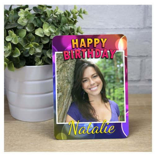 Personalised Disco Bokeh Happy Birthday Wood Photo Panel F24 - Any Age